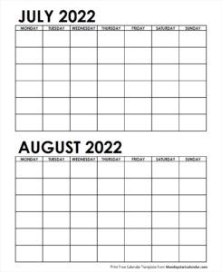 2 Monthly Blank Calendar July August 2022 School Holiday Calendar Federal Holiday Calendar Blank Calendar