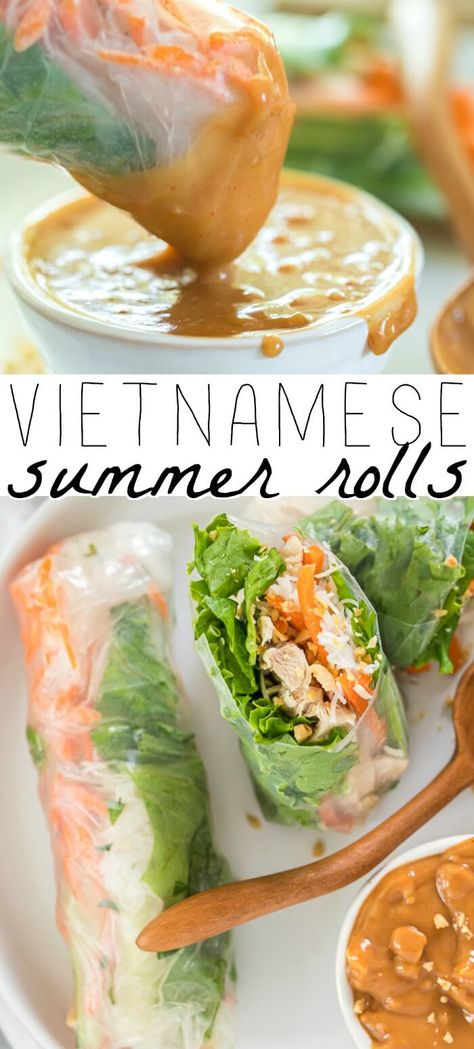 Vietnamese Fresh Spring Rolls, Vietnamese Salad Rolls, Chinese Spring Rolls, Easy Cooking, Cooking Recipes, Bo Bun, Vegetarian Recipes, Healthy Recipes, Healthy Vietnamese Recipes