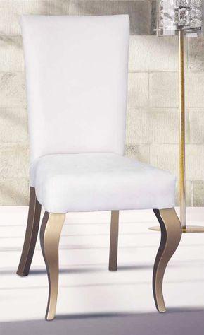 Silla clásica con asiento y respaldo tapizado madera maciza