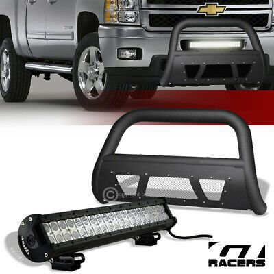 Sponsored Ebay Matte Black Studded Mesh Bull Bar 120w Cree Led Light For 07 10 Silverado 2500 In 2020 Cree Led Silverado 2500