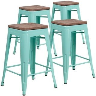 4pk 24 High Backless Counter Height Stool With Square Wood Seat