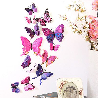 12Pcs Butterfly Wall Decal Decorations AU 3D DIY Decal Home Art Decor Stickers
