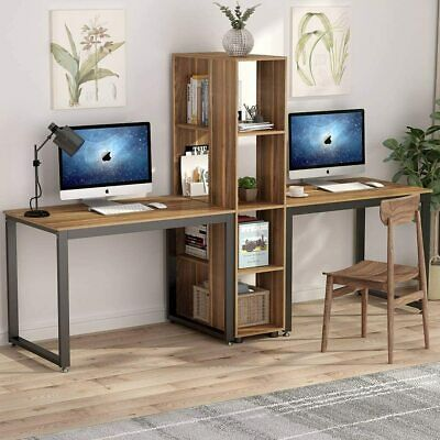 91 Two Person Computer Desk With Shelves Extra Large Double Workstations Zv In 2020 Computer Desks For Home Computer Desk With Shelves Computer Desk
