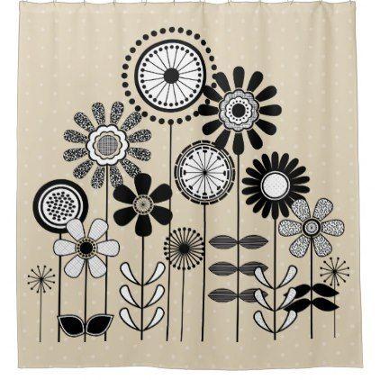 Flower Print Black White Mid Century Modern Dots Shower Curtain