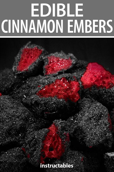 With a sweet honeycomb center and a hint of cinnamon, these edible cinnamon embers look like embers you just pulled them out of the fire. #Instructables #recipe #candy #dessert #snack #treat #Halloween #Santa #holiday #Christmas #toffee
