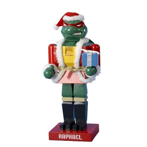 $24.15-$42.00 Kurt Adler TM6801L Teenage Mutant Ninja Turtle Raphael Nutcracker, 11-Inch - This 11-inch Teenage Mutant Ninja Turtle nutcracker features Raphael dressed as Santa Claus holding a Christmas present. http://www.amazon.com/dp/B003I86NIY/?tag=pin2wine-20