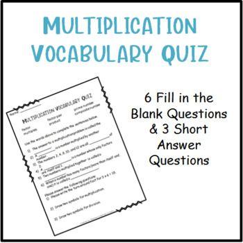 Multiplication Vocabulary Quiz | Vocabulary, Multiplication ...