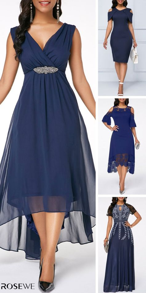 You'll be admired as soon as you set foot in the wedding/formal/party wearing the blue Chiffon Dress! Navy Blue Dress is enough to make any girl's heart race with excitement! Sleeveless V Back High Low Navy Blue Wedding Women Chiffon Dress