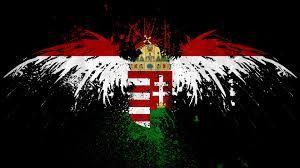 Hungarian flag and Turul bird.