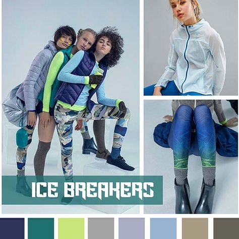 #DesignOptions FW18/19 color report on #WeConnectFashion, Contemporary Activewear Mood: Ice Breakers.