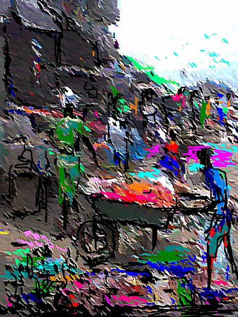 Digital Painting of an African Market by Nigerian Artist,Peter Akinwumi...