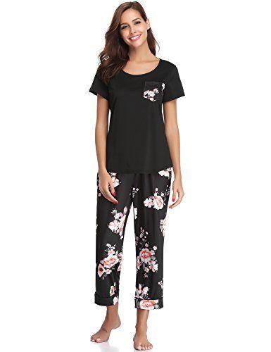 9e521083c2 Aibrou Damen Sommer Rundhals Leopard Pyjama Set, Zweiteiliger Kurzarm  Schlafanzug Nachtwäsche Set Schwarz S