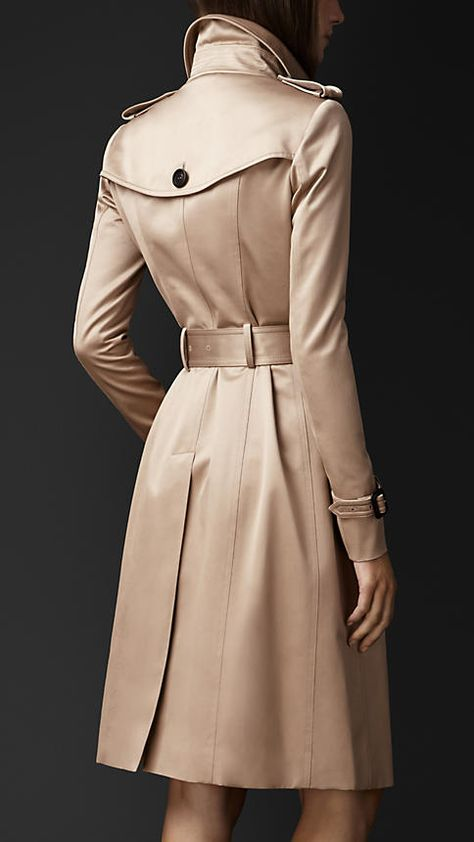 The sateen Burberry line of trench coats.