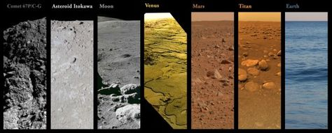Side by side pics of all alien surfaces humanity has explored.  As of November 2014, these are all of the planetary, lunar and small body surfaces where humanity has either lived, visited, or sent probes to.