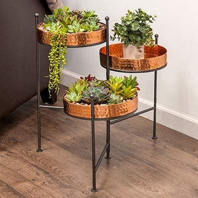 Amazonsmile Panacea 82193 Three Tiered Plant Stand Hammered Copper Finish 20 5 H Garden Outdoor In 2020 Plant Stand Indoor Plant Stand Plants