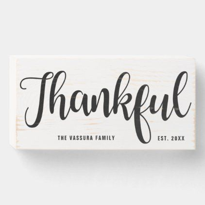 Rustic Simple Script Thankful Personalized Wooden Box Sign Zazzle Com Box Signs Wooden Boxes Box Signs Decor