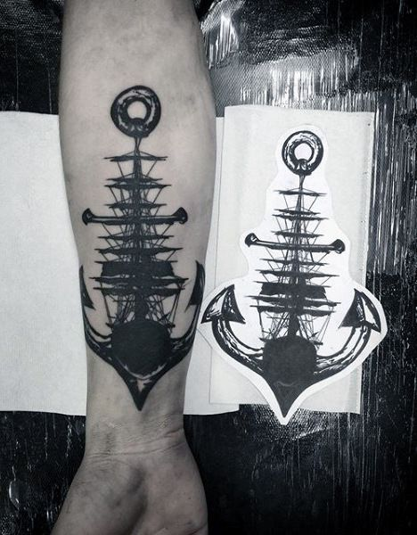 100 Nautical Tattoos For Men - Slick Seafaring Design Ideas- 100 Nautical Tattoos For Men – Slick Seafaring Design Ideas Gentleman With Abstract Ship And Anchor Nautical Inner Forearm Tattoo -