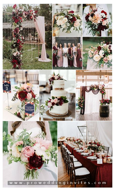 How to Mix Burgundy and Blush at Your Wedding Pink And Burgundy Wedding, Pink Wedding Colors, Blush Wedding Flowers, Gold Wedding Theme, Floral Wedding, Wedding Themes Red, Burgendy Wedding, August Wedding Colors, Rustic Wedding