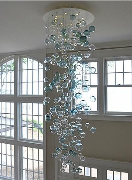 Chandelier or pendant light from aqua sea glass let there be chandelier or pendant light from aqua sea glass let there be light pinterest chandeliers glass and pendant lighting aloadofball Image collections