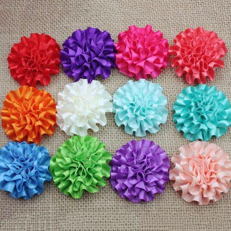 40pcs Upick Organza Ribbon Flower Bows w// Beads Appliques Craft Wedding Decor