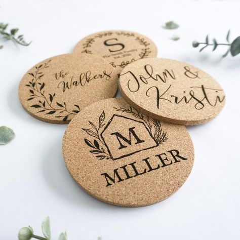 Personalized Cork Coasters - Set of 4 (Different Designs)