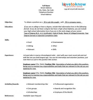 Chronological Resume Template Resumes Pinterest - free blank resume templates