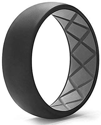 Egnaro Silicone Wedding Ring For Men Dual Tone Breathable Mens Rubber Wedding Bands One Ri Mens Rubber Wedding Bands Rubber Wedding Band Mens Wedding Rings