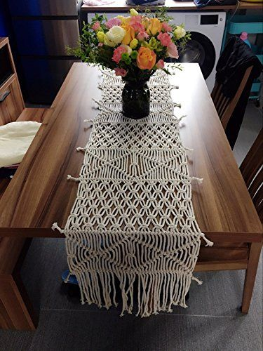 Riseon Bohemia Handmade Natural Macrame Table Runner Macrame