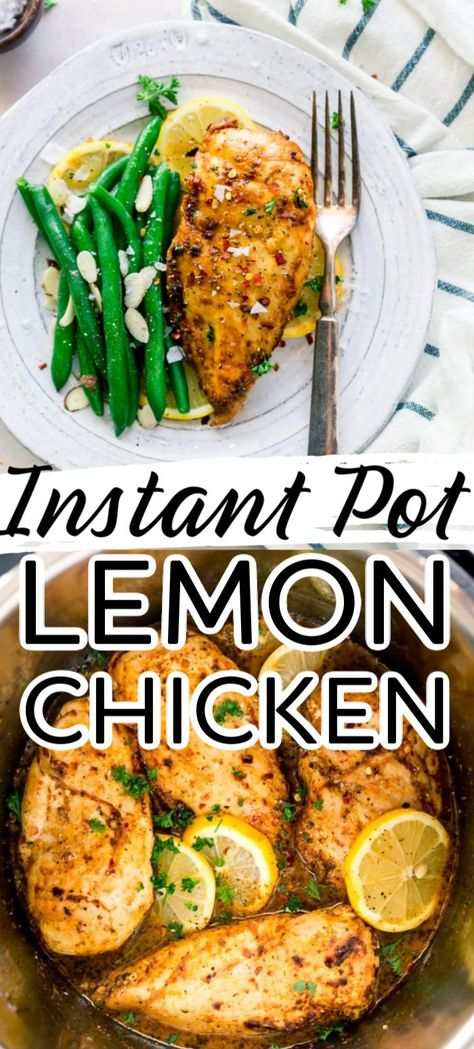 A little bit of tang and lots of flavour and no oven needed with this yummy Instant Pot Lemon Chicken Best Instant Pot Recipe, Instant Pot Dinner Recipes, Healthy Dinner Recipes, Chicken Recipe Instant Pot, Healthy Crockpot Chicken Recipes, Good Recipes For Dinner, Yummy Dinner Recipes, Instant Pot Meals, Healthy Instapot Recipes