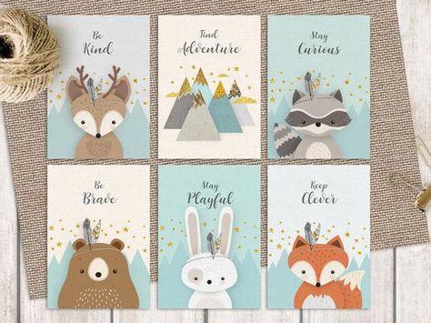 Nurserie de Woodlands, carte, garçon ensemble de chambre d'enfant, bleu, rustique, ensemble animal Forest, amis de la forêt, forêt chambre, racoon cerf, montagne, ours. ❥ Cette belle et authentique à la main bois lot de 6 cartes postales imprimables dispose de 5 forêt mignon amis - renard, cerf,