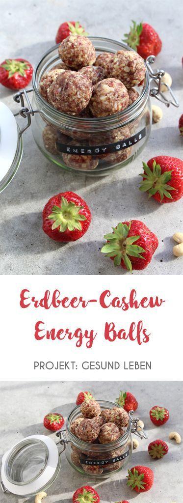 Erdbeer-Cashew-Energy-Balls ohne Kristallzucker. Zuckerfrei, gesund