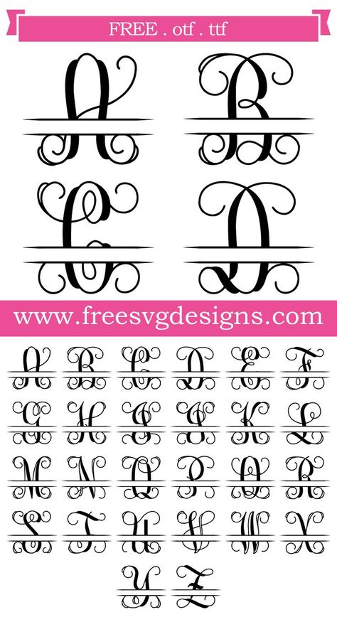 Free Font - Script font with split. This FREE download includes OTF and TTF files for personal cutting projects. Just install and use in programs for Cricut, Silhouette and other cutting systems. Free fonts / free monogram / free SVG cut file