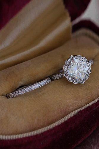 14k White Gold Moissanite Engagement Ring Wedding Band Engagement