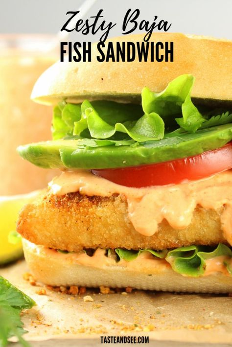 This Zesty Baja Fish Sandwich is an easy family dinner idea. With lightly breaded wild-caught cod fillets, zesty Baja sauce, avocado, tomato, cilantro & green leaf lettuce all tucked into a lightly toasted sub roll. #FishRecipes #FishSandwich #SeafoodRecipe #TasteAndSee