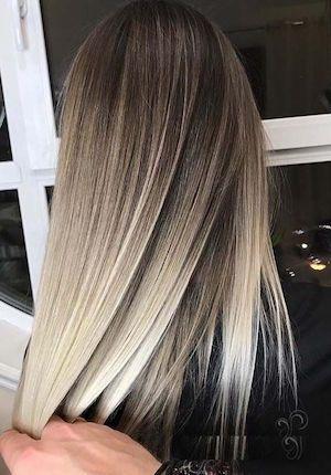 Ombre Hair Blond Gris Couleur De Cheveux Balayage Couleur