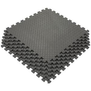 Ottomanson Multi Purpose Black 24 In X 24 In Eva Foam Interlocking Anti Fatigue Exercise Tile Mat 6 Pack Efm 24 Black The Home Depot Interlocking Foam Mats Interlocking Floor Mats Foam Flooring