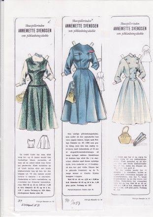 1956 Swedish paper doll Annemette Svendsen from Industrious Hands magazine. / dukkesiderne.dk