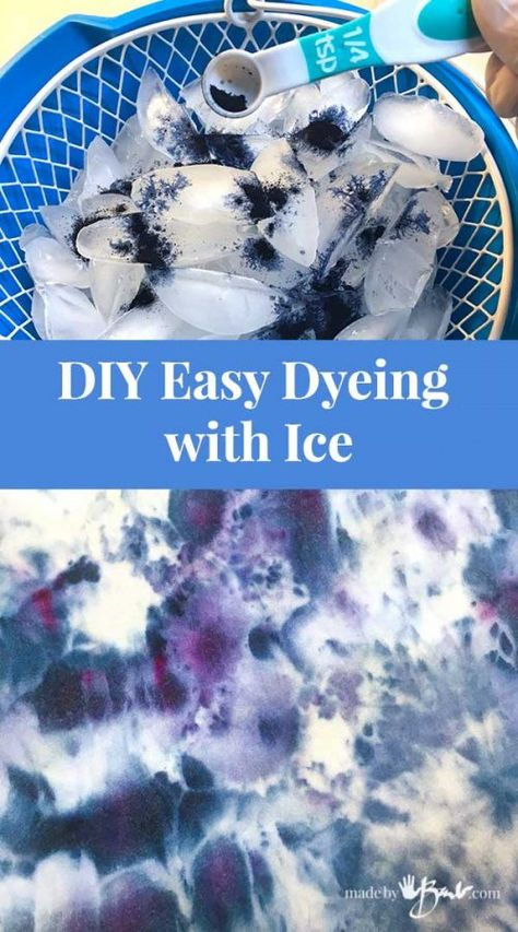 DIY Clothes Bleach tye dye - DIY Easy Dyeing with Ice - Made By Barb - super simple dye project Fête Tie Dye, Tie Dye Party, Bleach Tie Dye, Shibori Tie Dye, How To Tie Dye, How To Dye Fabric, Diy Tie Dye Fabric, Diy Tie Dye Dress, Bleach Dye Shirts