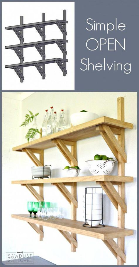 Love the open shelving idea, but want something a little different? Then these bracket open shelves are the thing for you! Complete build plans available. #WoodworkingSigns