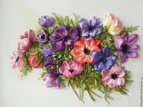 Anemone bouquet of ribbon embroidery by Kartiny Panno Ксения Белых (Украина)