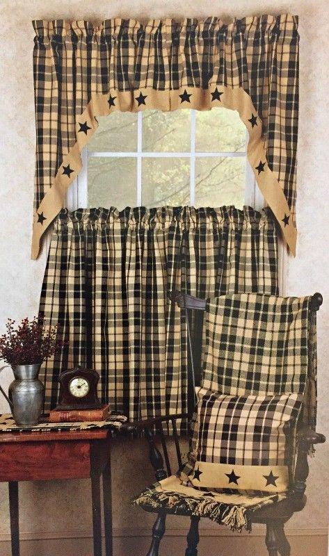 New Primitive Farmhouse Black Star Curtains Valance Swags Panels