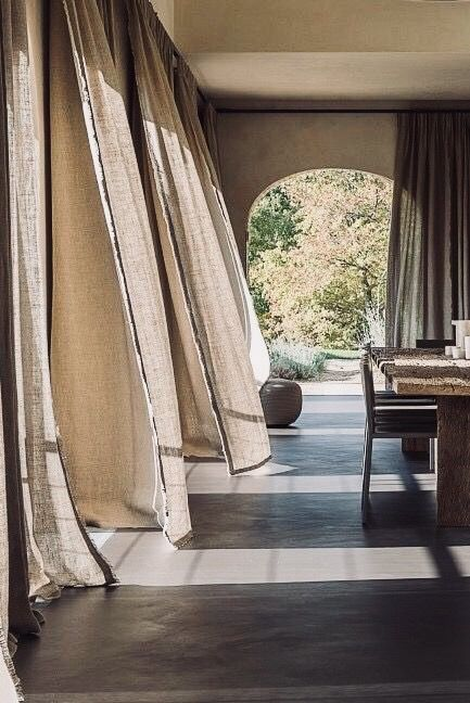 Drapery Curtains Linen Flowing Interior With Images House Interior House Architecture Design Interior Design Living Room