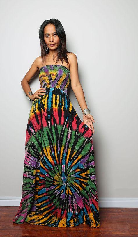 Tie Dye Dress Boho Hippie Funky Smocked Maxi Dress  by Nuichan, $59.00
