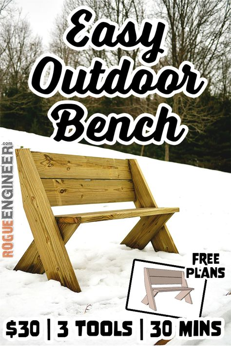 What You'll Want To Hunt For In A Very Do-it-yourself Dwelling Energy Audit Diy Outdoor Bench In 30 Mins W Only 3 Tools Plans By Rogue Engineer. Woodworking Bench Plans, Easy Woodworking Projects, Diy Pallet Projects, Woodworking Tools, Diy Outdoor Wood Projects, Woodworking Fasteners, Woodworking Machinery, Woodworking Magazine, Popular Woodworking