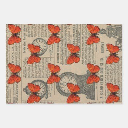 Vintage Orange Butterfly And Newspaper Wrapping Paper Sheets Zazzle Com In 2020 Newspaper Wrapping Wrapping Paper Sheets Newspaper Crafts