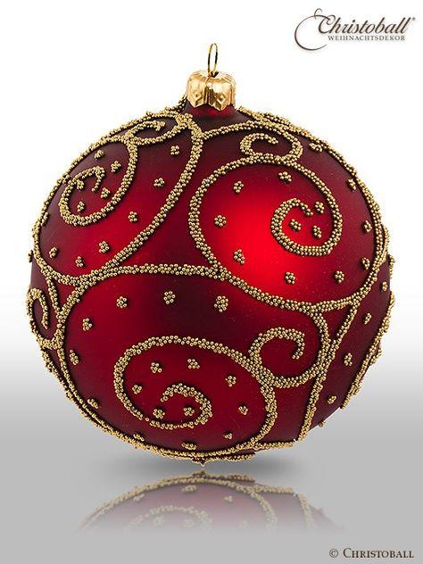 Christbaumkugeln Glas Rot Gold.Eleganza Weihnachtskugel Xl Bordeaux Rot Christmas