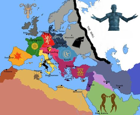 Game Of Thrones Map In Real Europa Gry Mapa