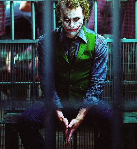 """Heath Ledger as The Joker. I remember watching this scene in the theatre and thinking, """"wow, he's kinda sexy."""""""