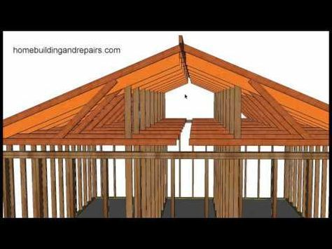 How To Convert Existing Truss Roof Flat Ceiling To Vaulted Ceiling Using Rafters Post And Beam Youtube Roofing Ceiling Remodel House Roof Roof Truss Design