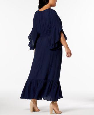 684112cb752 Ny Collection Plus   Petite Plus Size Crochet-Trim Peasant Maxi Dress -  Black 1XP